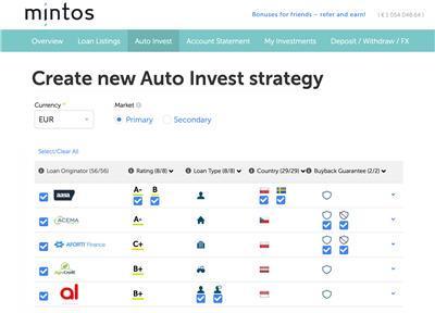 Mintos Ελλάδα Auto invest settings